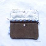 Portefeuilles Upcycling Klara brun carreaux ouvert