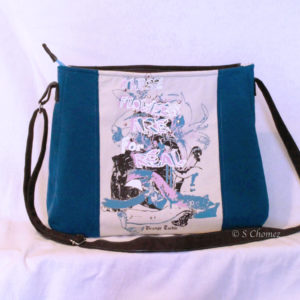Sac cabas upcycling Blue flower MX