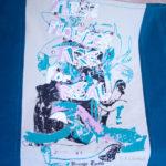 Sac cabas upcycling Blue flower MX - détail
