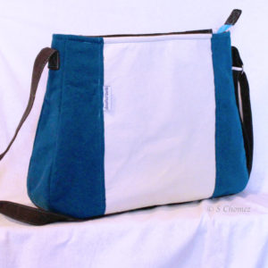 Sac cabas upcycling Blue flower MX - dos