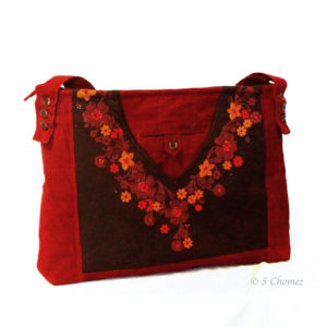 Sac cabas upcycling fleurs orange-rouge