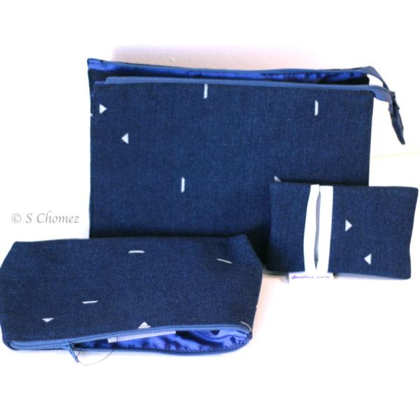 Trousse Upcycling ensemble bleu