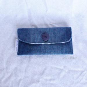 Housse GSM ceinture upcycling bleu-carreaux face
