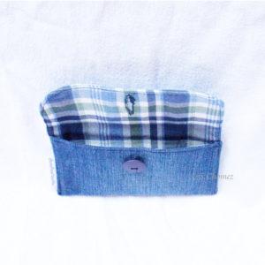 Housse GSM ceinture upcycling bleu-carreaux int
