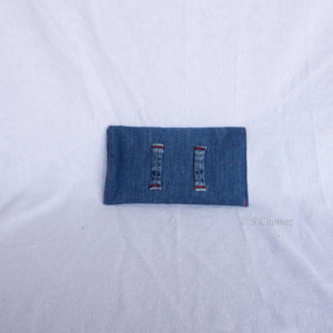Housse GSM ceinture upcycling bleu-étoile 2 dos