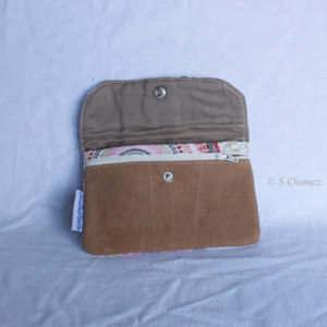 Portefeuille upcycling Klara beige int