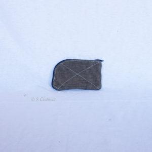 Portes-cartes upcycling bleu-beige dos