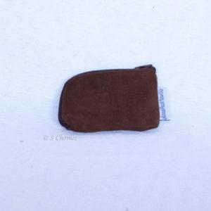 Portes-cartes upcycling daim marron