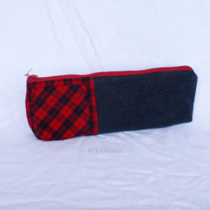 Trousse de crayon upcycling noir-rouge