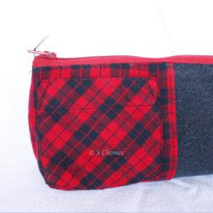 Trousse de crayon upcycling noir-rouge poche