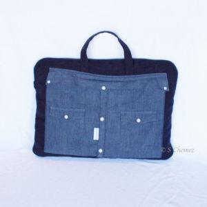 sac pour laptop upcycling chemise bleu face