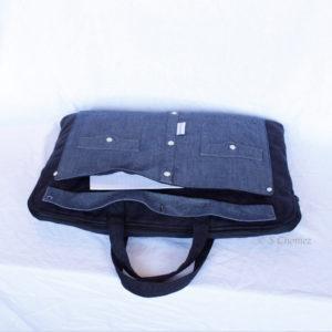 sac pour laptop upcycling chemise bleu poche