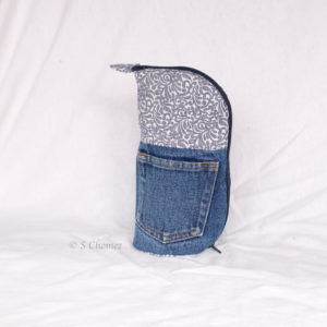 Trousse Vertical trio upcycling - bleu jeans