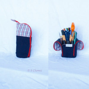 Trousse vertical upcycling bleu-rouge