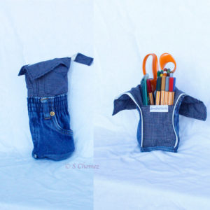 Trousse vertical upcycling blue boy