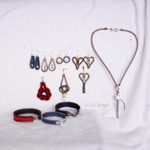 """Suite des bijoux """"zip"""" Upcycling"""