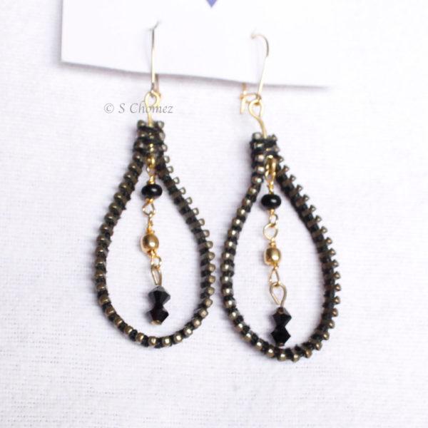 Drops upcycling métal noir-or perles noir-or