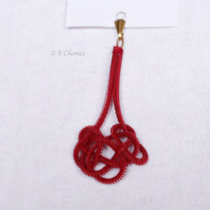 pendentif upcycling noeuds - nylon rouge