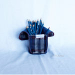 Trousse en mode Vertical upcycling nov - bleu bordeaux int