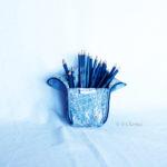 Trousse en mode Vertical upcycling nov - bleu clair ville int