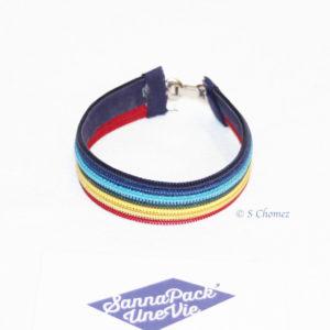 bracelet zip arc en ciel