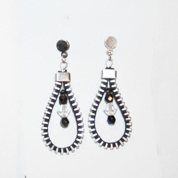 bo drop pendentif noir upcycling zip
