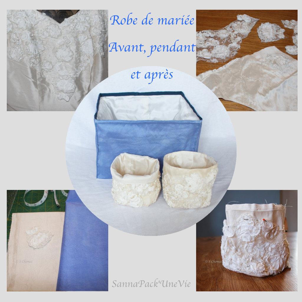 upcycling robe de mariée en panier