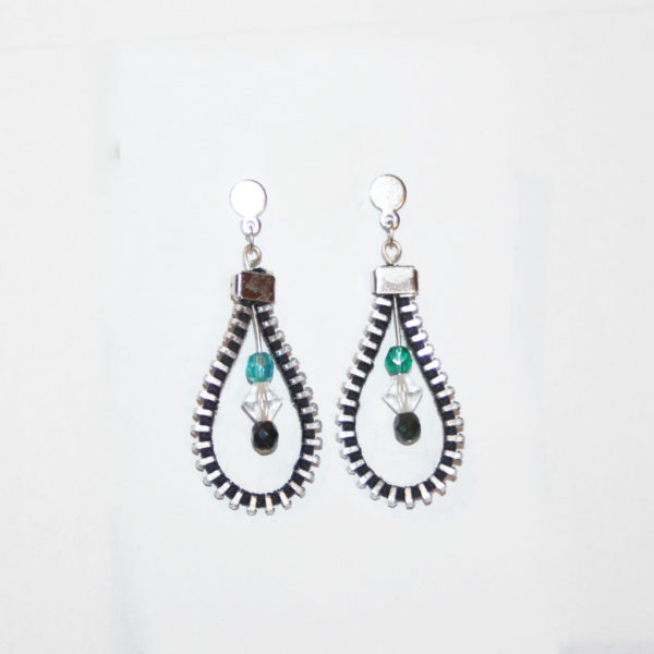 bo drop pendentif turquoise upcycling zip