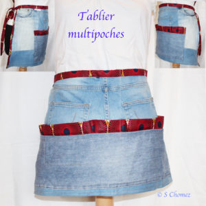 tablier multipoches upcycling jeans